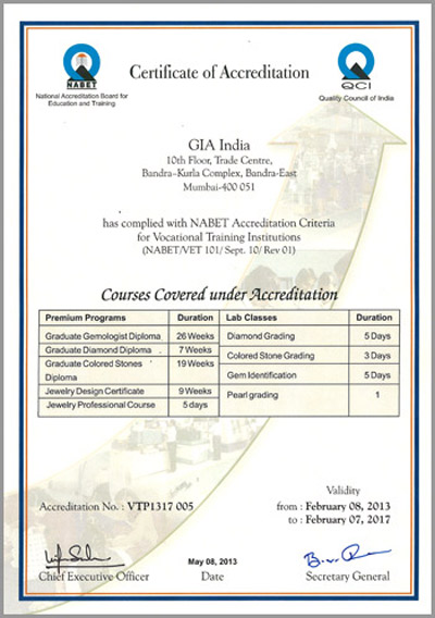 NABET Accreditation Certificate - GIA